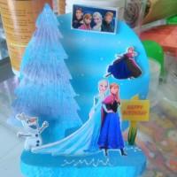 Background hiasan kue ulang tahun frozen elsa anna