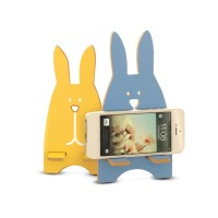 Rabbit Phone Stand Wooden Holder Hp Kelinci Kayu