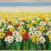 Lukisan Feng Shui Bunga Margot Pembawa Keberuntungan Ukuran 45x120 cm