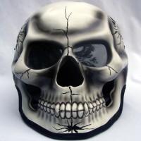 Helm Tengkorak 3D Airbrush Full Face Putih
