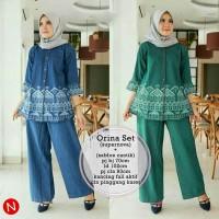 annisa setelan 2 in 1 tunic blouse muslim + celana kulot panjang