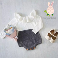 Long Sleeve Knit Romper Ruffle O-Neck Gray