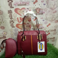 Tas wanita import fossil kulit super terbaru free dompet merah maron