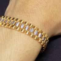 gelang tangan emas kuning/putih rolex NEW! mas 375 gold original murah