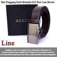 Ikat Pinggang Kulit Branded GCI Box line brown