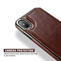 Leather Smartphone Case with Mini Wallet for iPhone X Murah
