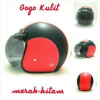 Helm Bogo Retro SNI Kulit Classic Merah Hitam + Kaca Bogo Ori