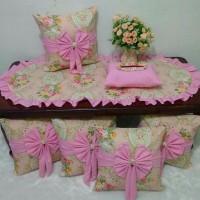 Sarung bantal sofa pita set dan isi bantal sofa motif Shabby 1 Limited