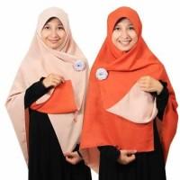 Jilbab syari segi empat Bolak Balik Terakota Peach