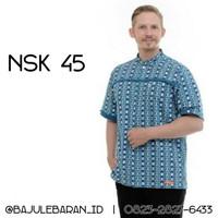 Koko Nibras NSK 45 Toska Baloteli Katun Etnik Baju Ayah Lengan Pendek