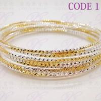 Yaxiya gelang keroncong set12 kombinasi perhiasan imitasi
