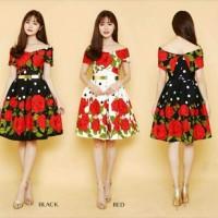 Party Dress Baju Pakaian Pesta Remaja Putri Flower Bunga Merah Putih