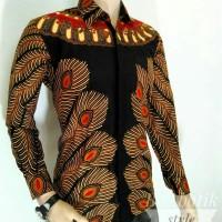 Baju batik Hitam bulumerak batik lengan panjang
