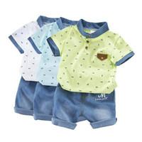 Setelan bayi/anak laki2 kemeja dengan bahan katun dan celana jeans