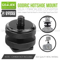 Godric Adapter Flash Hot Shoe To 1/4 Inch Male Tripod Screw DSLR
