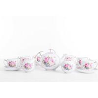 Tea set 17 PCS Capodimonte Rose Baby Blue
