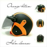 Helm Bogo Retro SNI Kulit Orange Hitam Kaca Bogo Flat Ori