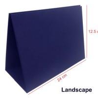 Tatakan / Kaki Kalender Meja Linen Biru Ukuran 24x12.5cm Landscape