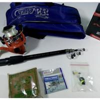 Satu Set Alat Pancing Murah Joran Carbon 150 5 Ball Bearings+Tas Bagus