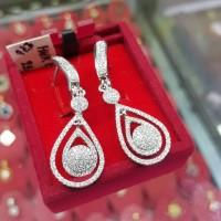 Terhangat Anting Emas Putih Full Berlian Eropa Berkualitas