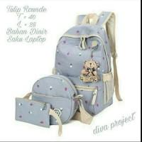 Tas wanita murah promo backpack set 3 in 1 tulip rounde