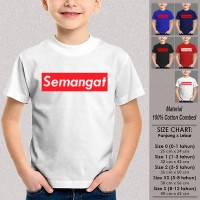 Kaos Anak Muslim Baju Dakwah SEMANGAT PUTIH Ukuran Bayi 0 bulan 1 s/d