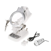 JUAL Helping Hand Magnifying Soldering Iron Stand Lens Magnifier Clamp