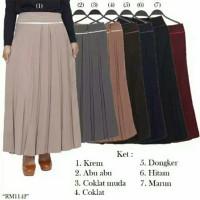 rok kerja wanita muslimah bahan ferari plisket