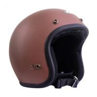 Zeus Retro ZS-385C Polos Helm Half Face - Coklat