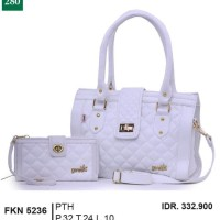 Tas Handbag Kasual + Dompet Wanita putih Garsel FKN 5236 T12