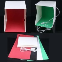 Jual Mini Photo Studio Mini LED - 4 Background dan tombol on/off Size Small Murah
