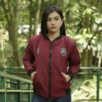 jaket bomber wanita despo patch marun Jaket Wanita Cewek Keren Bandung