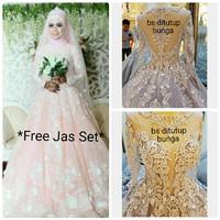 CN XJ38520 Gaun Baju Pengantin Wedding Dress Muslim Payet Ekor Custom