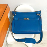 Hermes Authentic Jypsiere 34 blue original bag tas asli long strap box
