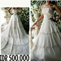 sewa gaun bridal / pengantin jakarta / gaun bridal putih full payet
