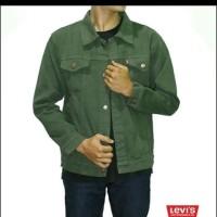 Jaket Jeans Denim Pria Levis Hijau Army Jacket Jeket Jins Cowok Lelaki