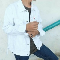 Jaket Jeans Denim Pria Levis Warna Putih White Jacket Jeket Jins Cowok