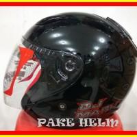 Helm Kyt Dj Maru Solid Black Hitam Glossy Djmaru dm160