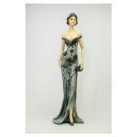 Dekorasi Figurine Wanita Dress Abu