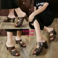 Sandal Wedges High Heels Wanita LV DAMIER MONOGRAM / High Heels Murah