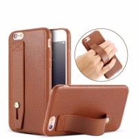 Leather Soft Case iPhone 8+ Plus Hard Casing HP iRing Kulit Grip Stand