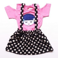 Baju Setelan Anak Bayi Perempuan Kaos Sabrina Overall Rok Polkadot