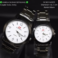 Jam tangan couple pasangan fossil segi rantai hitam grosir murah seiko