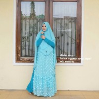 Clarisa Dress Gamis Busui Organza Bunga Import
