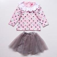 Baju Setelan Anak Bayi Perempuan Kaos Kelinci Bunny Rok Tutu Abu Ter