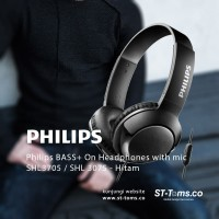 Philips SHL3075 / SHL 3075 BASS+ On Headphones with mic Hitam