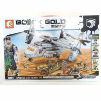 READY Lego Sembo Block Gold Series 11712 Army Swat Helicopter + Tank