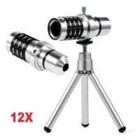 Paket Tele Zoom Lensa Telezoom 12x Universal HP Tripod dan Jepit Mur