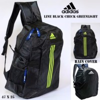 Tas ransel adidas new line black check greenlight free rain cover