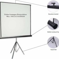 Screen Projector Brite 84 Inchi TRIPOD (TRI-2121) / LayarProyektor